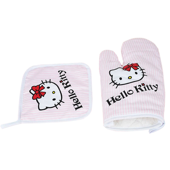 Hello Kitty Kitchen Gloves &Insulation Pads Anti-scald Kitchen Baking Microwave Oven Gloves Mitts Cute Hello Kitty Kitchenware