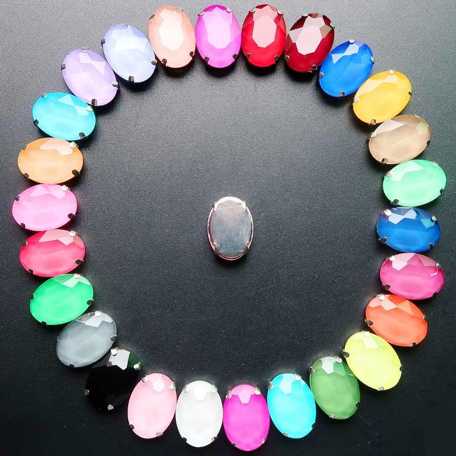 Silber klaue einstellungen 20 pcs/p 10x14mm 13*18mm gelee candy AB farben glas Kristall Oval form Nähen auf strass applique diy trim