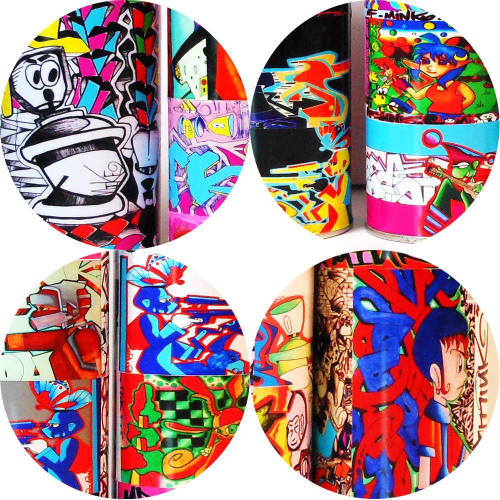 Граффити поп-арт спрей может коллекция настенные плакаты и принты красочные граффити бутылка для краски декоративные картинки для бара кафе
