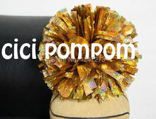 2 pom pom cheerleader pom pom holographic gold 1,000*3/4″ wide streamers 6″ sizes