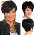Top Quality 100% Wavy Brazilian Human Real Hair wig full bangs Short curly hair African American Lace Full Wigs for black women