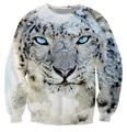 Snow Leopard Crewneck Sweatshirt comfortable big cat Sweats Fashion Clothing casual Tops Jumper Women Men 3d hoodies plus size
