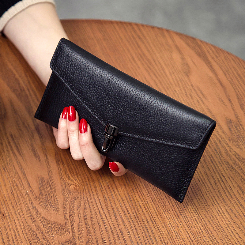 2018 Rushed Genuine Leather New European And American Minimalist Leather Purse, Long Leather, Slim Envelope, Wallet Wallet.