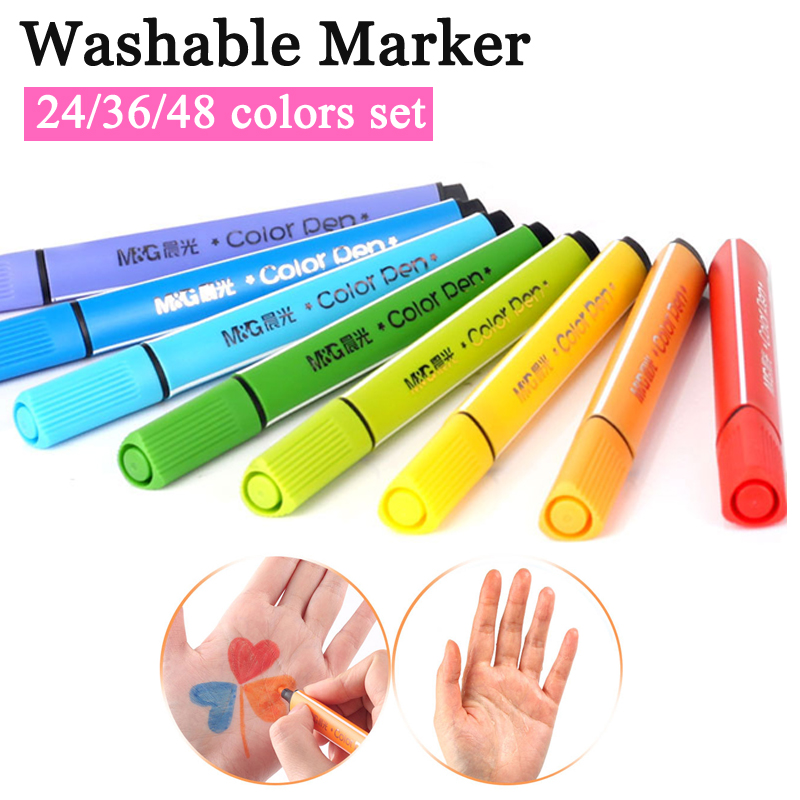 Washable watercolor marker pen set 24 36 48 colors non toxic for child kindergarten school students
