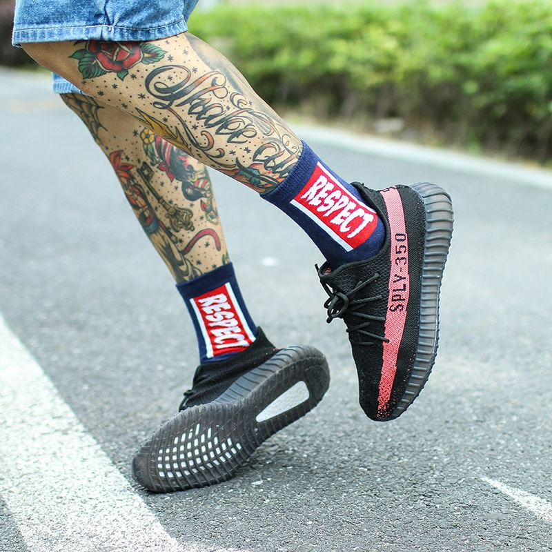 IMINCN 1Pair sport casual respect brand new hiphop Harajuku Cute Patter  Ankle Socks Hipster Skateboard man Ankle Funny Socks