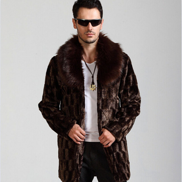 d26c5276b Best selling! Winter men fashion atmosphere faux fur coat brown warm cozy  casual mink fur coats Long luxury fox fur collar coat
