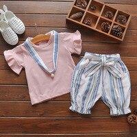 Brand New Summer Thời Trang Phong Cách Girl Quần Áo Bộ Trẻ Em Quần Áo bộ phồng Tay Áo hồng T-Shirt + quần Cô Gái Phù Hợp Với với ngọc trai vòng c