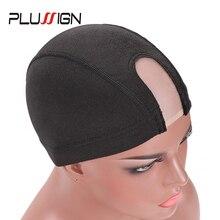 Plussign 10 Adet Toptan spandeks file Kubbe Peruk Kap Elastik Saç Net Tutkalsız Saç Net Peruk Kap Peruk Yapımı İçin Siyah U parça Kapaklar