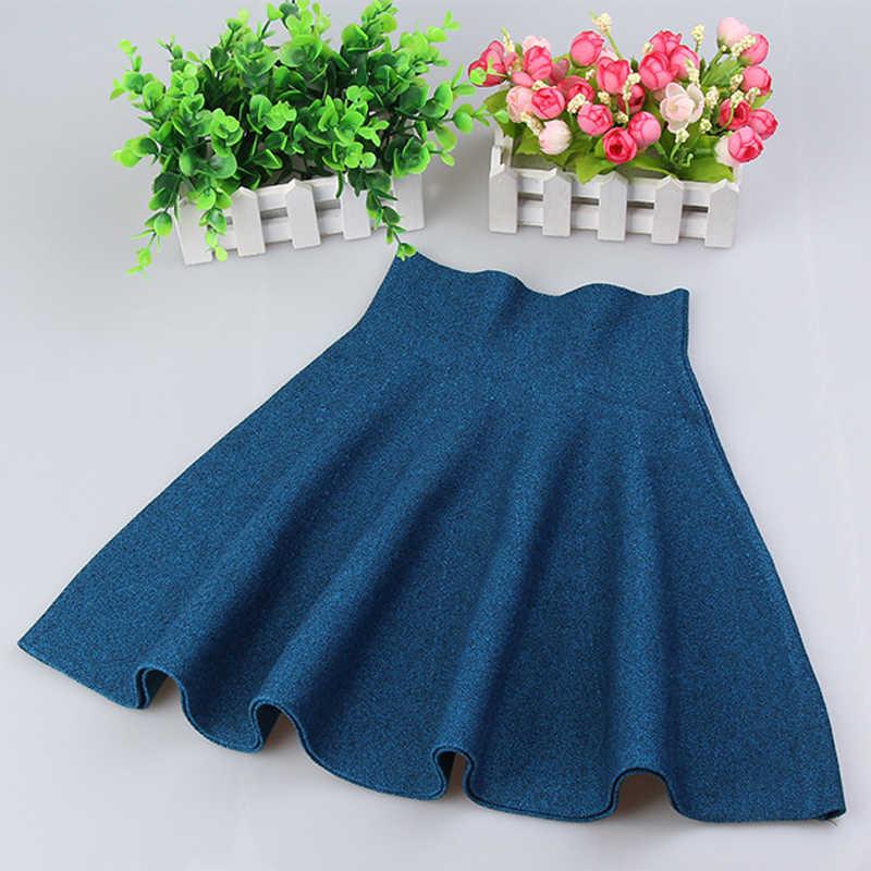 Nova chegada 5 cor sólida menina de tricô saia meninas saias princesa saias Tutu menina roupas criança saias das crianças dos miúdos roupas