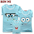 BIN NI SpongeBob Style Cotton Children's Clothing Summer Striped T-shirt Fashion Father Mother Son Clothing Family Look