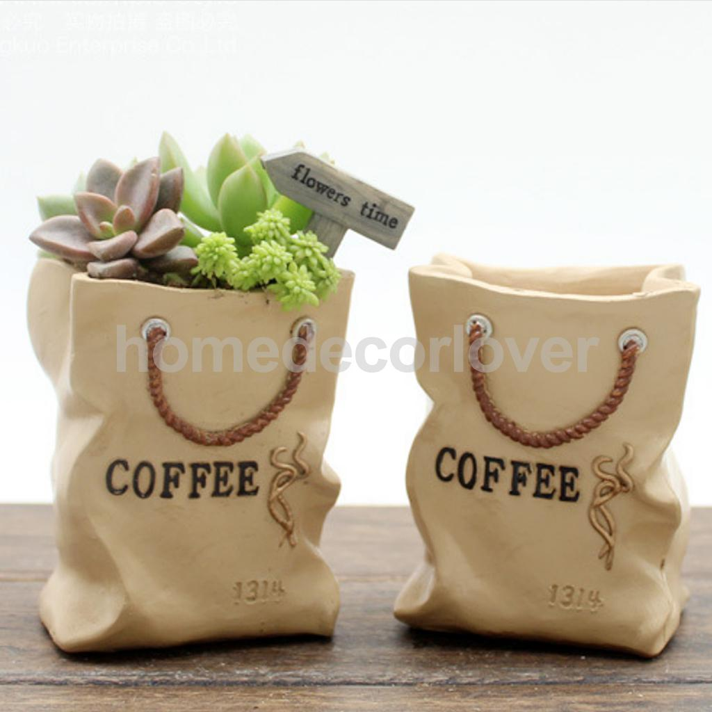 Creative Cartoon Shopping Bag Resin Plants Flower Pot Storage Box Container Bonsai Trough Box Plant Bed Home Garden Decor