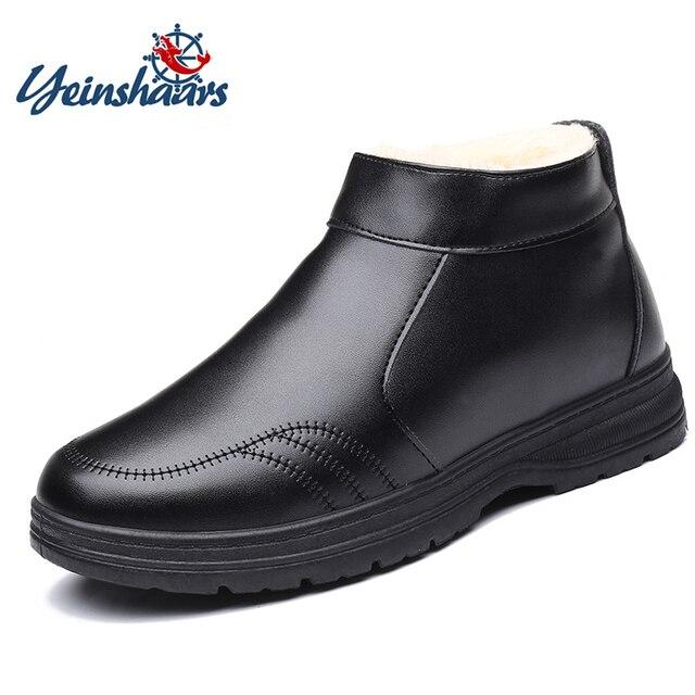 YEINSHAARS 新男性靴ジッパーサイド革ブーツ男性の快適なカジュアルブーツ男性秋 & 冬ウォームブート男性ブーツ