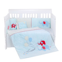 blue cute elephant baby infant crib bedding sets with quilt, bumper,pillow and flat sheets-7 piece cot bedding sets