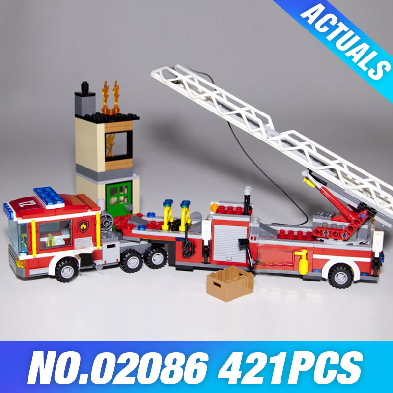 Lepin 02086 Gneuine 421PCS City Series Model The Fire Engine Set Building Blocks Bricks  DIY Toys For Children New Year Gifts lepin 15004 2313pcs city creator series fire brigade model building blocks bricks toys for children gift compatible 10197
