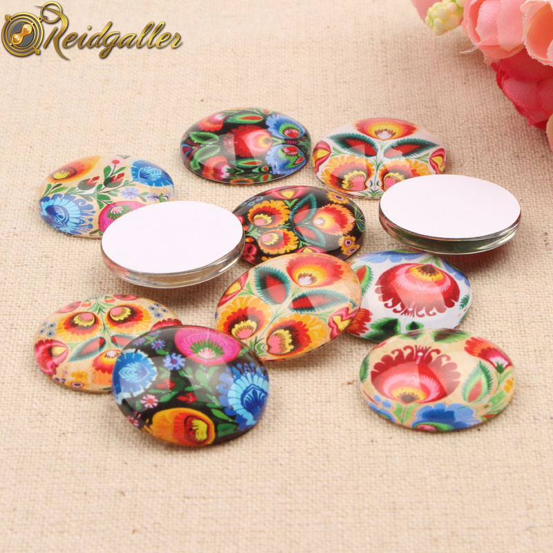 Reidgaller 50pcs Glass Cabochon 12mm Mixed Flatback Handmade Round Jewelry Cameo Cabochons For Earrings