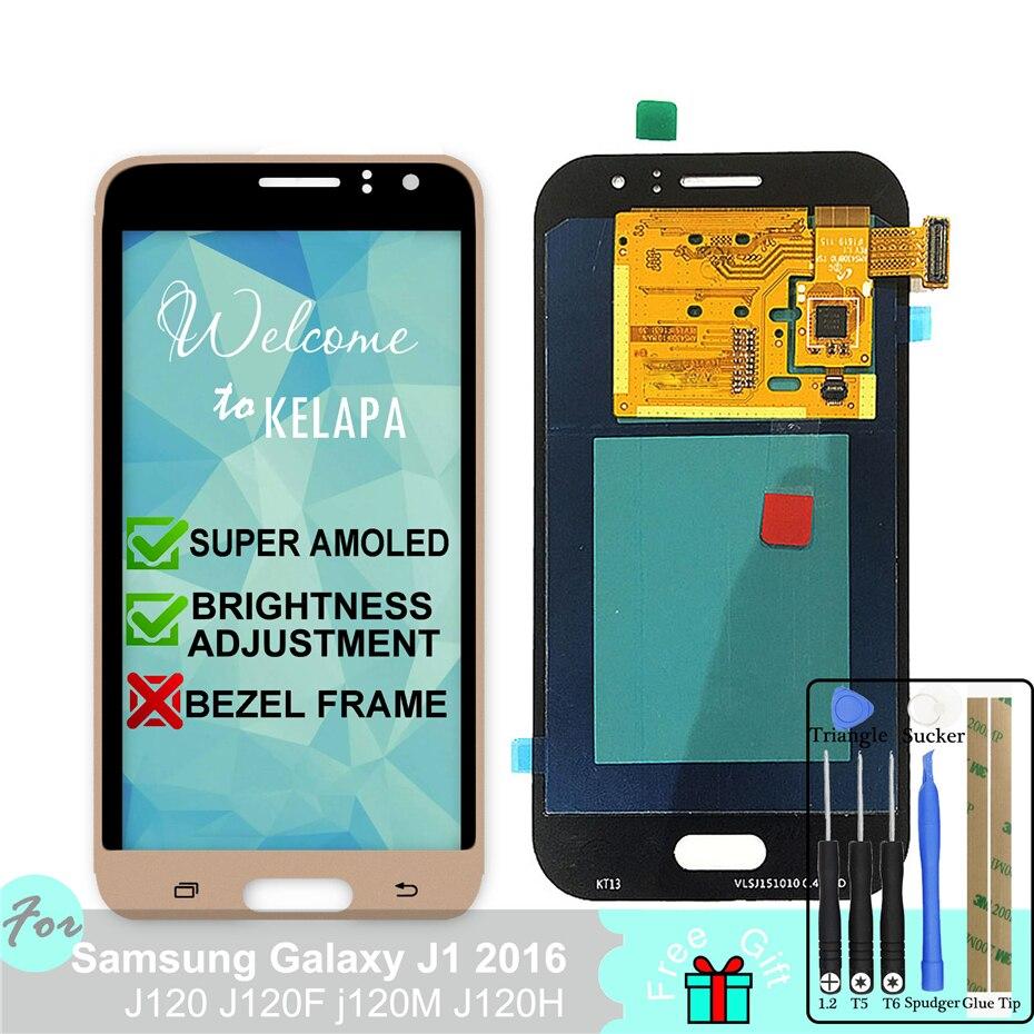 Super AMOLED LCD pour SAMSUNG Galaxy J1 2016 J120 J120F j120M J120H assemblée de numériseur d'écran tactile