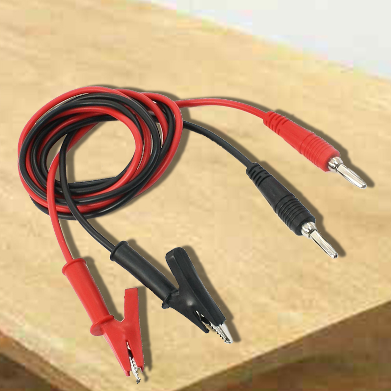 1M Long Alligator Clip to Banana Plug Test Cable Pair for Multimeter