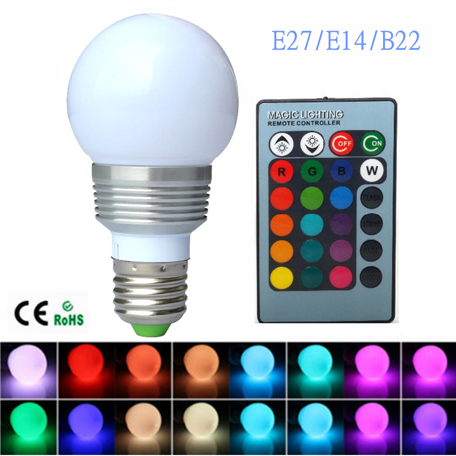 E27 LED RGB Bulb Lamp AC110V 220V 7W E14 Spot Light Dimmable Magic Holiday B22 LED Lighting IR Remote Control 16 Colors