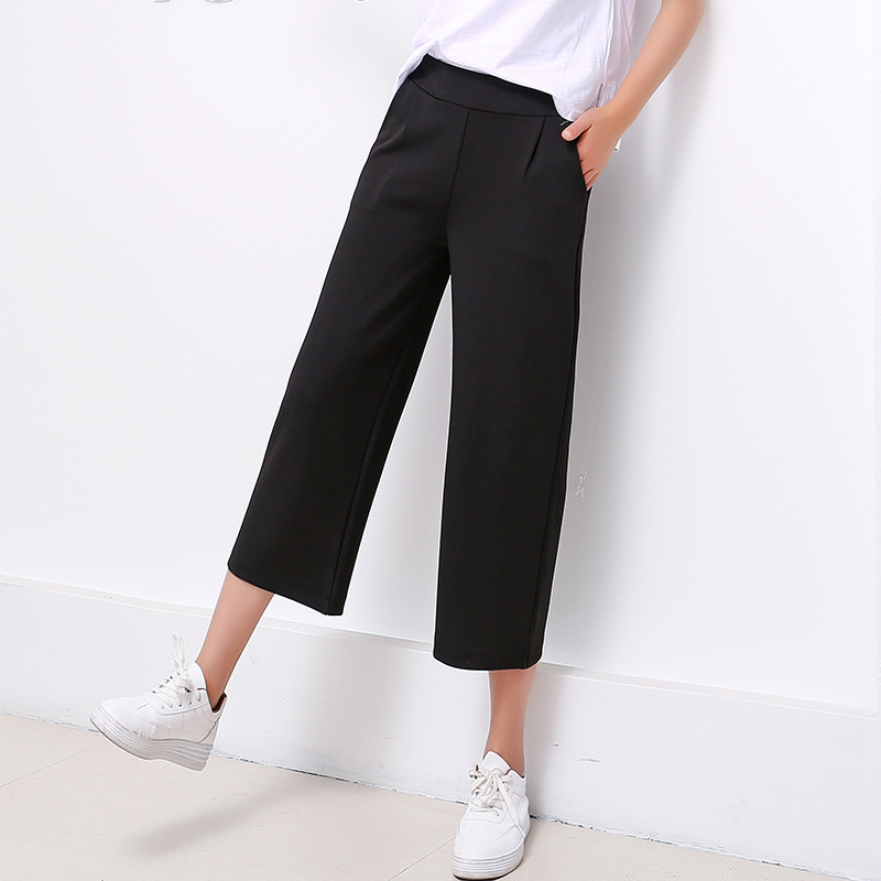 Fashion High Waist Chiffon   Wide     Leg     Pants   Female Plus Size Loose Casual Nine Yards   Pants   Trouser trousers straight trouser   pants