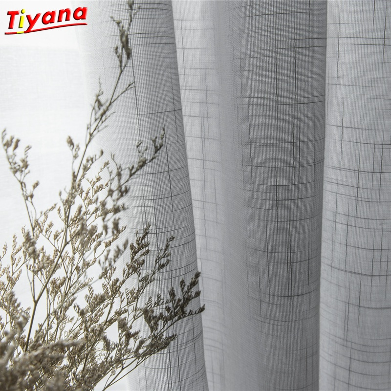 Modern Grey Cotton Linen Tulle Curtains for Kitchen Door Sheer Window Treatments White Solid Tulle for The Living Room S053 *40