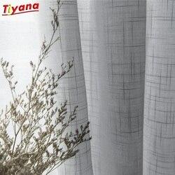 Nowoczesne szare bawełniane lniane tiulowe zasłony do kuchni drzwi zwiewne okienne zabiegi biały stały tiul do salonu S053 * 40