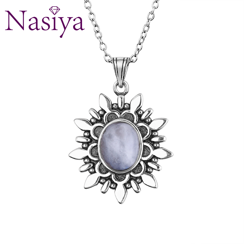 New Fashion Natural Blue Light Moonstone Pendants Necklaces For Women Men 925 Silver Jewelry Daily Life Casual Birthday Gift