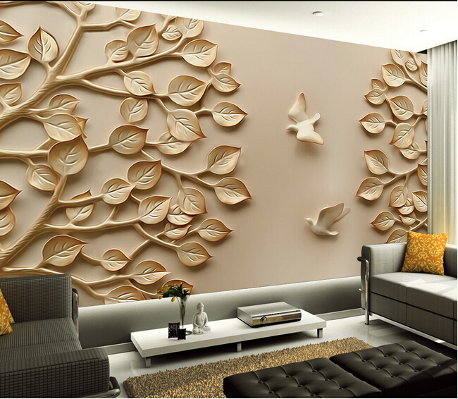 European Wallpaper Mural Large 3D Wall Paper Leaves For TV Living Room  Bedroom Wall Art Decorative In Wallpapers From Home Improvement On  Aliexpress.com ...
