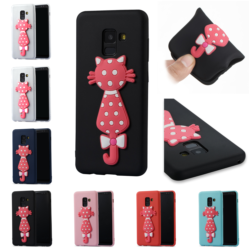 Lovely Soft Silicone 3D Cat Cartoon TPU  Phone Cell Case Cover Cove Bag For Samsu Samsug Sansung Galaxy A8 A 8 A800