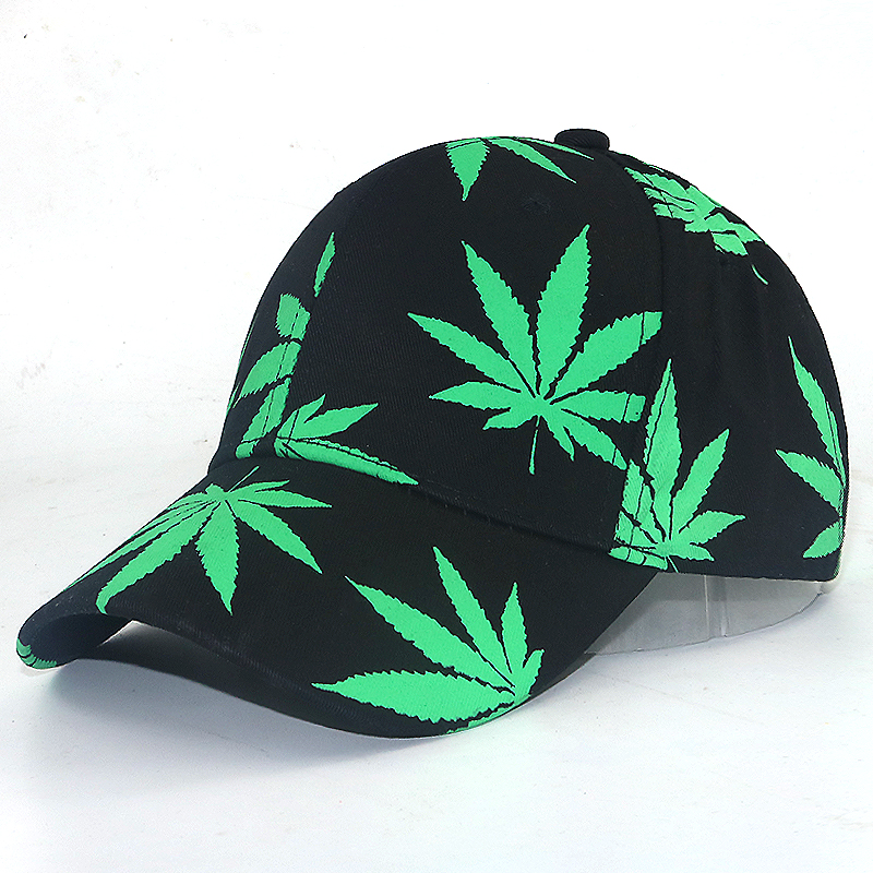 women men fashion   Baseball     Cap   New Maple Leaf Pattern In The Dark Luminous Hat Fashion Street Style Black Snapback   Cap