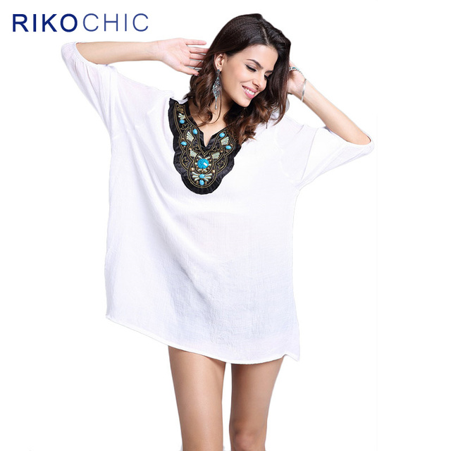 b7cb5910642771 RIKOCHIC Boho Style 3XL Plus Size Tops Embroidery Summer Women White Blouse  Cotton Beading Bohemian Elegant Blouse shirts C042