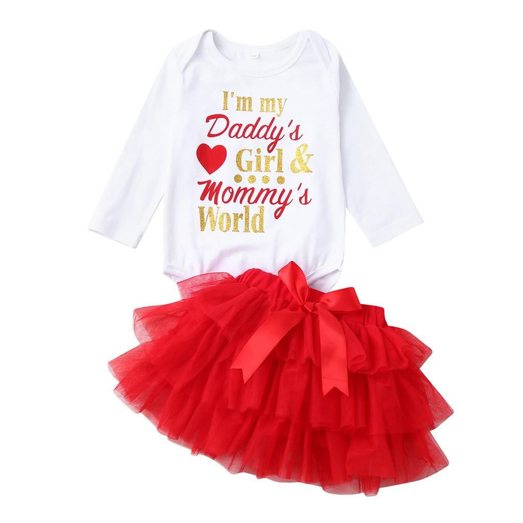 6b3558f17 Newborn Infant Baby Girl Letter Romper+Tutu Tulle Skirt Valentine Outfits  Set