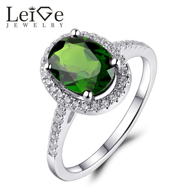 Leige Jewelry Chrome Diopside Anniversary Ring For Women Natural