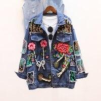 2017 Long Sleeve Denim Jacket Women Rhinestone Beaded Denim Ladies Elegant Vintage Hole Girls Jackets Coat