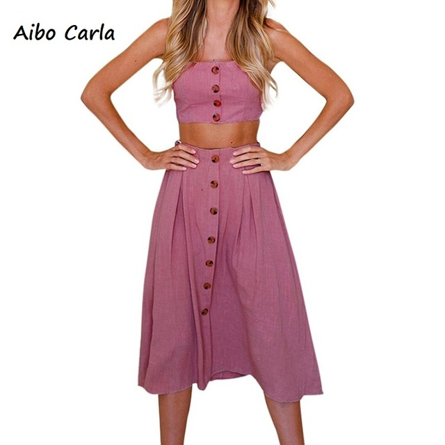 1a32863592 Womens Two Pieces Outfits Summer Dress Sleeveless Bowknot Lace Up Back  Button Front Tube Crop Tops Beach Midi Dress Set