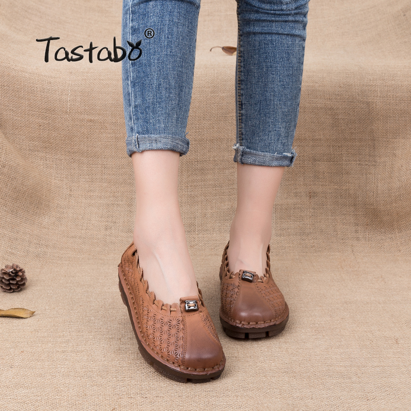 Tastabo Handmade Women Genuine Leather Shoes Non-slip Durable Soft Cowhide Loafers Shoes Ladies Flat Shoes For Mom Size 35-41 dichotomanthes end wushu shoes for men and women section is better than soft cowhide leather shoes practicing taijiquan