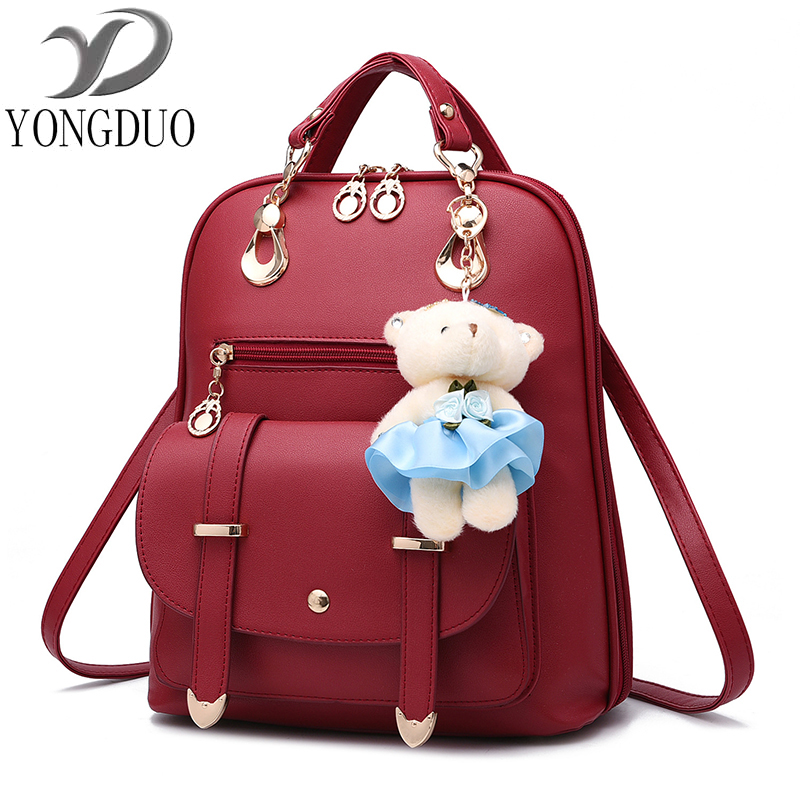 Women Soft PU Leather Ladies Backpack high quality shoulder bags backpacks for teenage girls Preppy Style