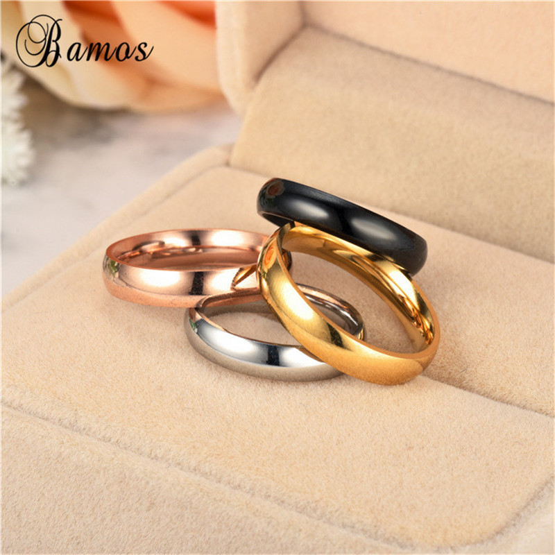 Bamos Minimalist Thin Finger Ring Black/Gold/Silver/ Color Stainless Steel Rings For Women Men Simple Party Jewelry Accessories