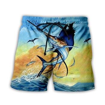 Summer Fish Quick Dry 3d Printed Men Swimwear Shorts Mens Beach Board Briefs For Swim Trunks plus size FI6