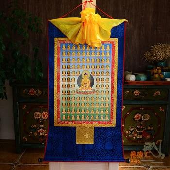 Wholesale Buddhist supplies--120CM large --HOME ART Tibetan Buddhism Hundreds Sakyamuni Buddha Pure Elysian Thang-ga Thangka art