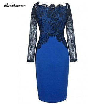 Elegant Lace Long Sleeves Mother of the Bride Dresses Formal Godmother Blue Wedding Guests Gown vestido de madrinha