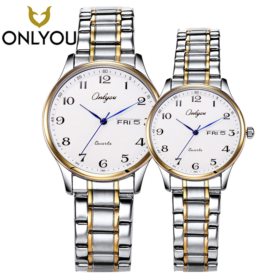 ONLYOU Fashion Watch in Women's watches Men Stainless Steel Band Business Women Gold Watch for Boys Girl Week Display Date Clock wwoor business dress wrist watch men modern date week display stainless steel band mens watches classic luminous male clock gift