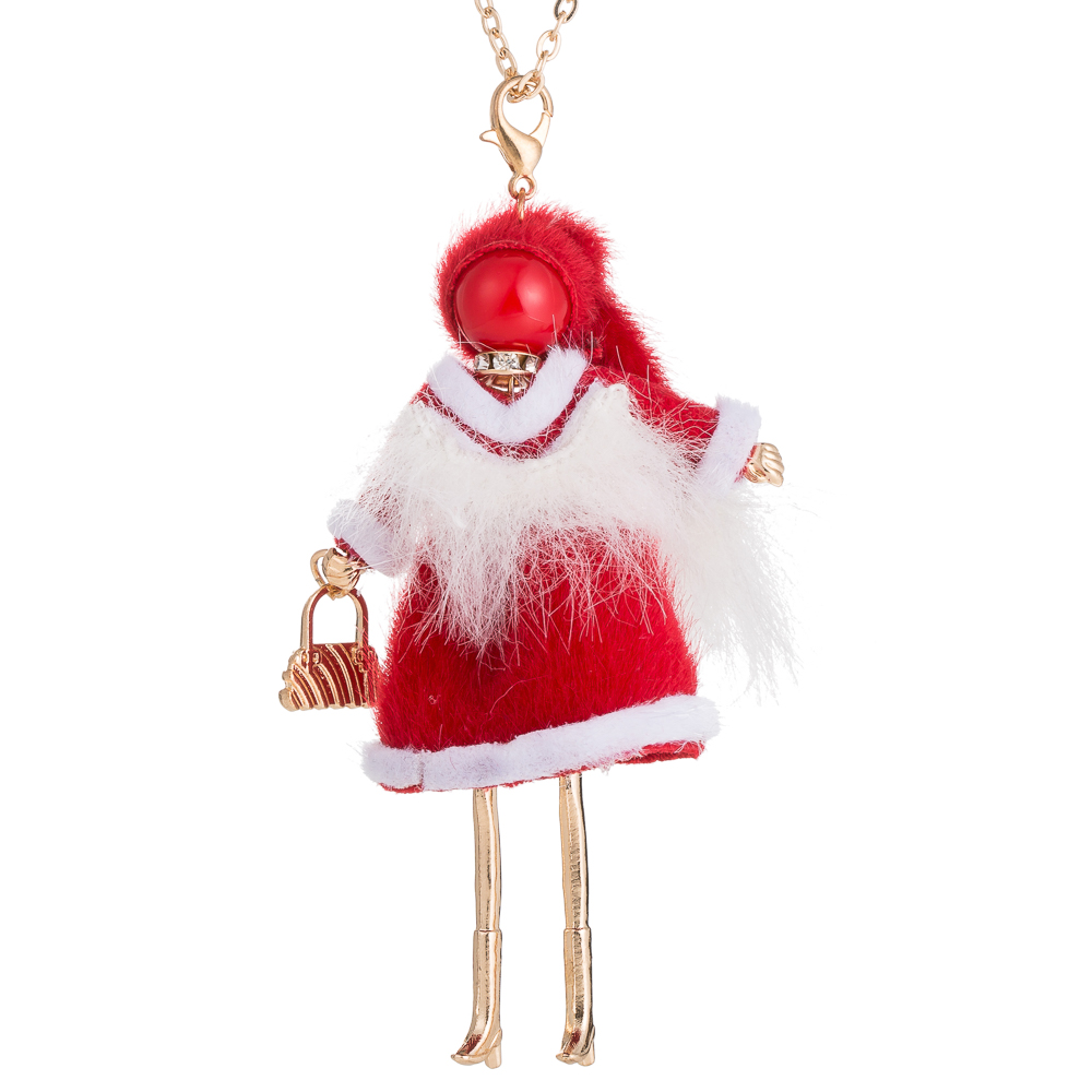 HOCOLE Christmas Gifts Cute Yarn Cloth Bowknot Dress Doll Necklace white Santa Claus Hat Jewelry For Women Girls Happy New Year