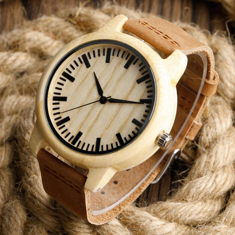 Prix pour Mode belle conception de La Lumière En Bois Montres Fait de Bambou-Bracelet avec la Bande de Cuir pour Hommes Femmes relojes de madera