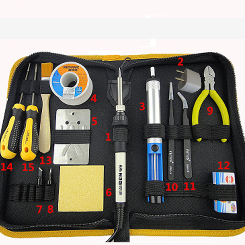 Thermostatic Electric Soldering Iron Set 220V 35W Soldering Station With Solder Tip Tweezers Welding Multi Tool цена 2016