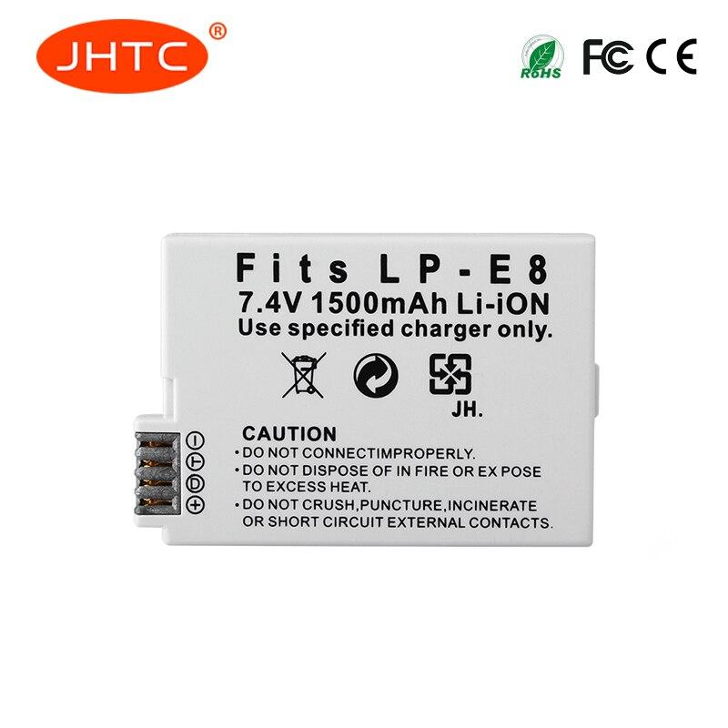 JHTC 1 pz 1500 mah LP-E8 LPE8 LP E8 Batteria Batterie AKKU per Canon EOS 550D 600D 650D 700D X4 X5 X6i X7i T2i