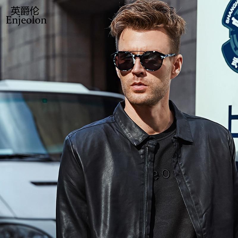 Enjeolon márka PU bőrkabát Férfi állvány gallér Motorkerékpár bőr kabát férfi 4XL kabát kabát Alkalmi fekete bőr kabát P220
