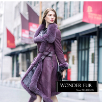 Mysterious Style Fur And Leather Long Coat Real Rex Rabbit Skin And Fur Garment Top Quality Fox Fur Hood Fur Jacket