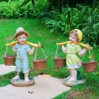 Rustic artificial Children sculpture resin kids craft decoration outdoor decoration 4pcs/lot garden decor home craft