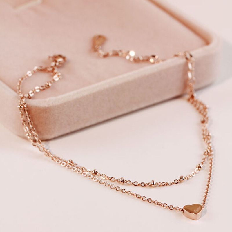 Gold Stainless Steel Jewelry Two Layer Heart Anklet Bracelet For Women Bead Chain Leg Bracele Jewelry