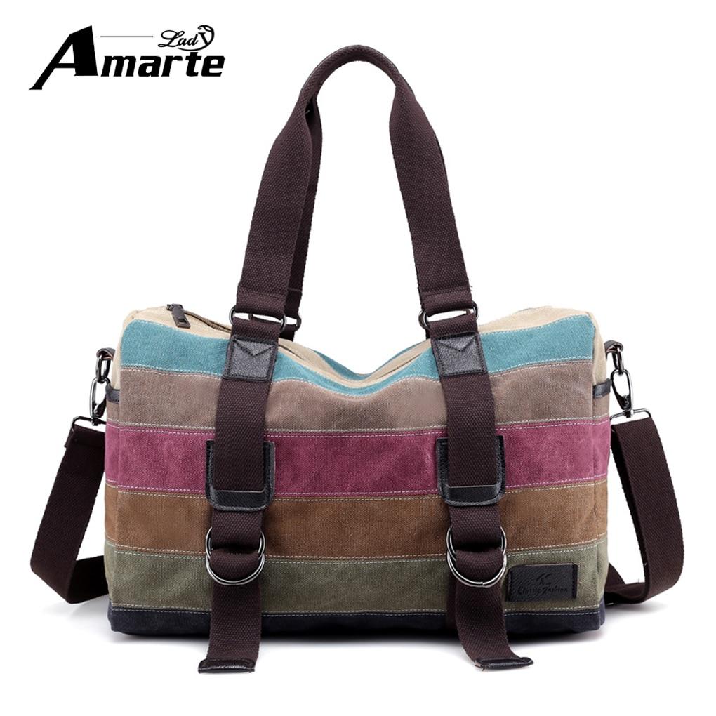 Amarte Women Patchwork Handbags New Fashion Canvas Bag Casual Female Shoulder Bags Messenger Bag Summer Totes Bolsa Feminina